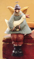 WW2223 Girl Angel Holding a Goose, Shelf Sitter