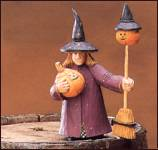 ww6003 Trick or treat, witch, hat, broom, pumpkin, jack o'lantern